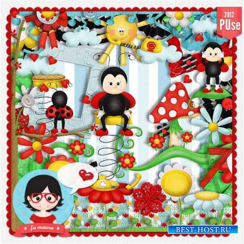 Яркий детский скрап-комплект - Bee Happy Ladybug