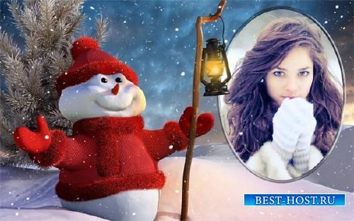 Рамка для фотошопа - Снеговичок зимой