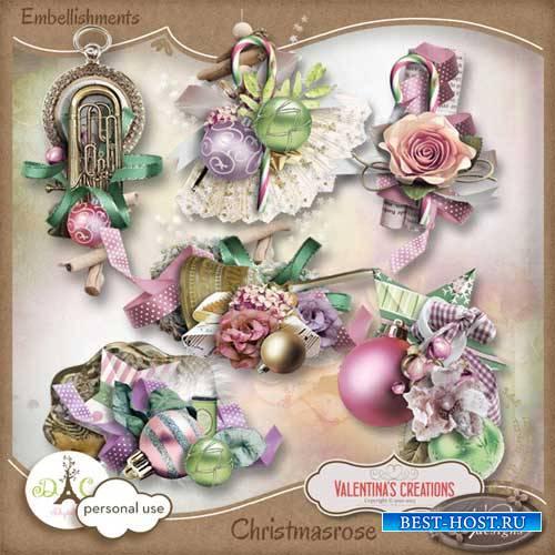 Очаровательный новогодний скрап-комплект - Рождественская роза