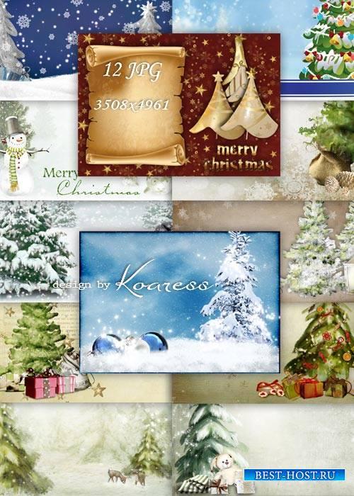 Зимние фоны для открыток - зимний лес, елки, снеговики, елочные игрушки