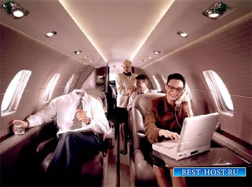 Шаблон для Photoshop - Успешный политик в частном самолете