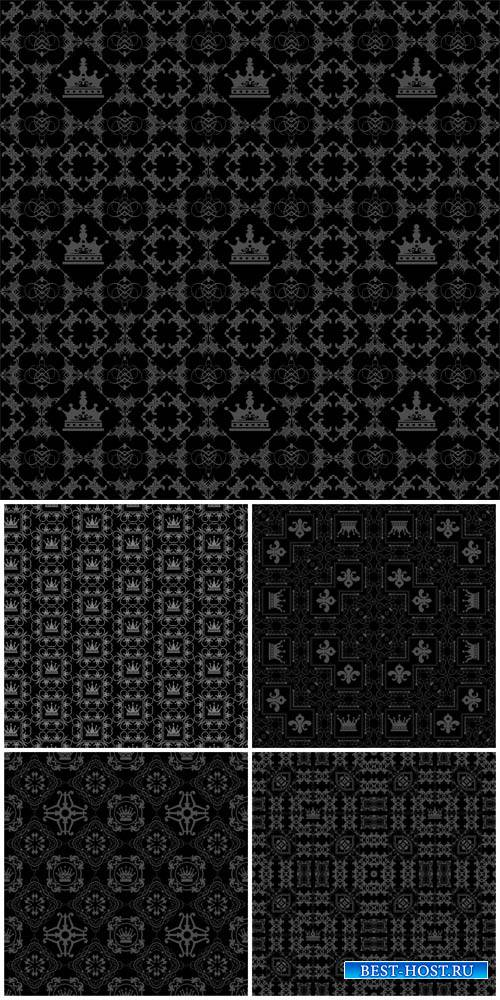 Black vector backgrounds with various patterns, textures