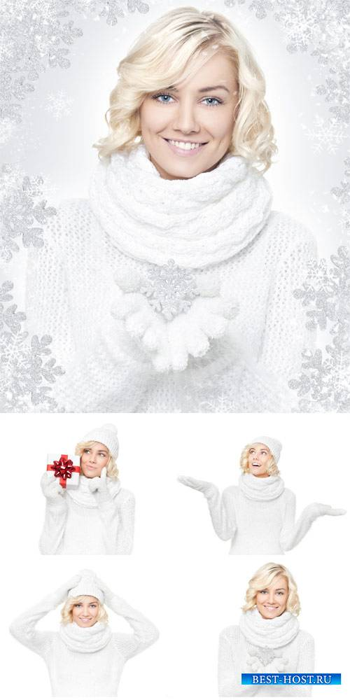 Winter stock photos, girl with snowflakes