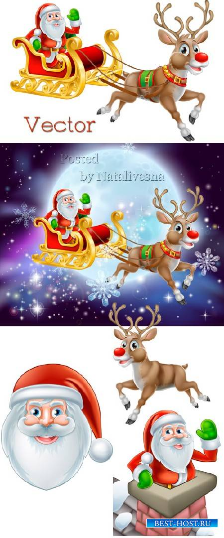Рождественская подборка векторного клипарта – Санта и Олень
