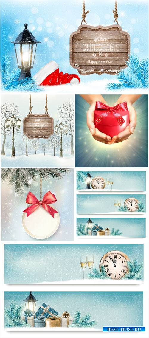 Christmas vector, winter landscape, banners with chimes and champagne