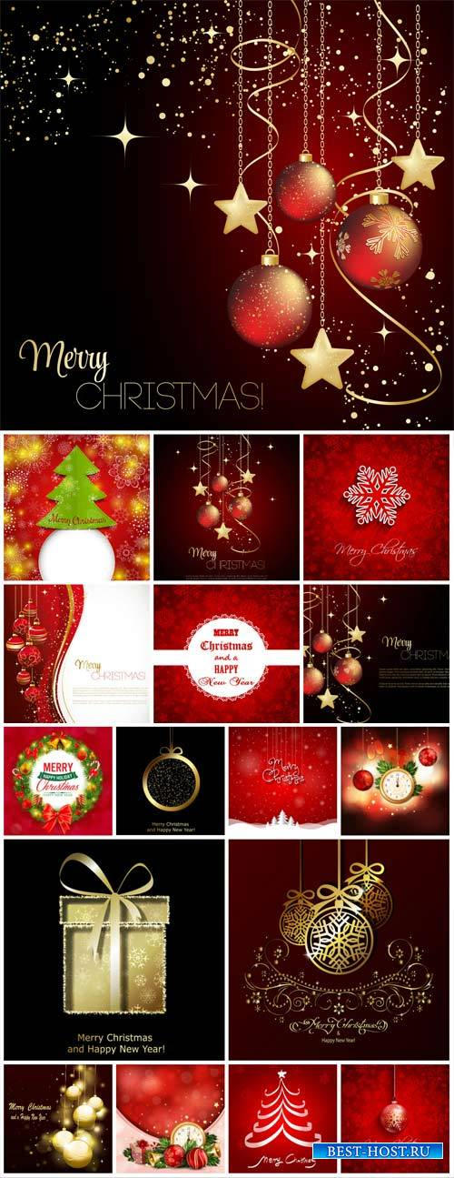 Christmas vector collection of backgrounds with Christmas trees and Christm ...