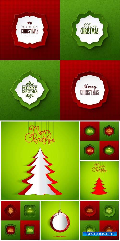 Christmas vector, red and green background with fir trees