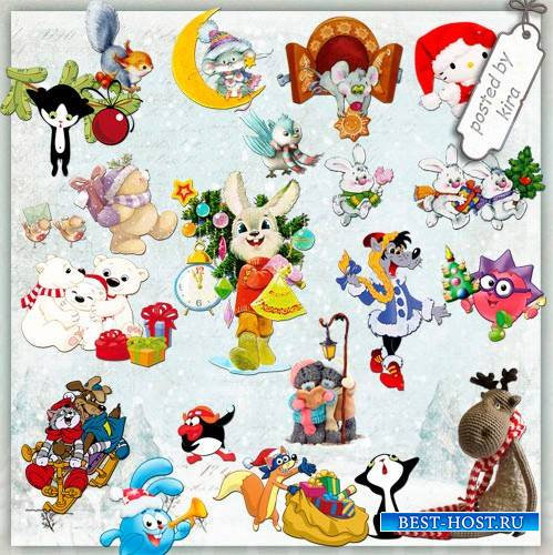 Детский клипарт - Зимние мультяшки, зверушки и мягкие игрушки, часть 2