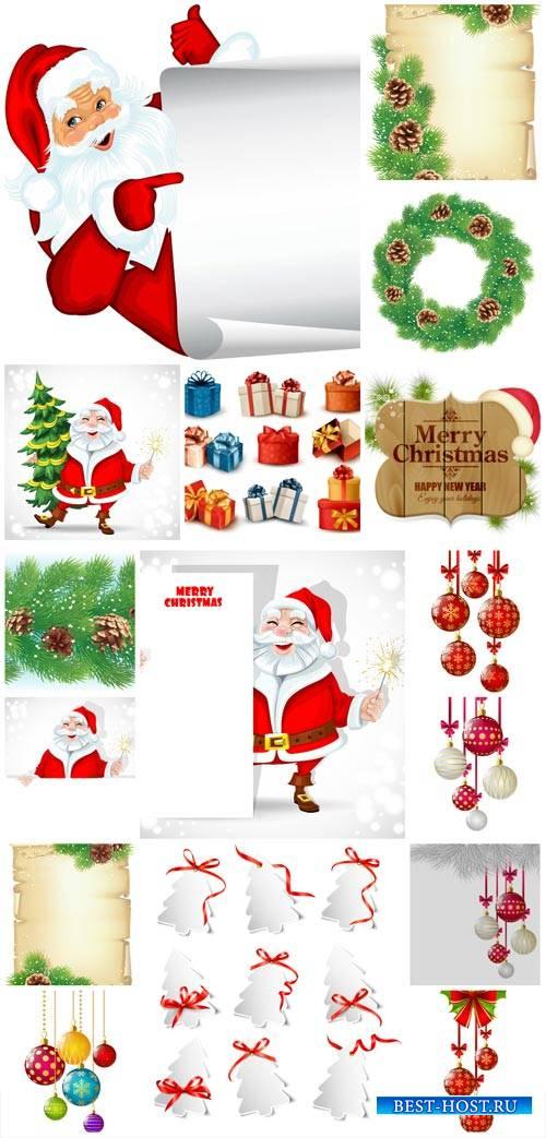 Christmas vector, Christmas tree balls, Santa Claus