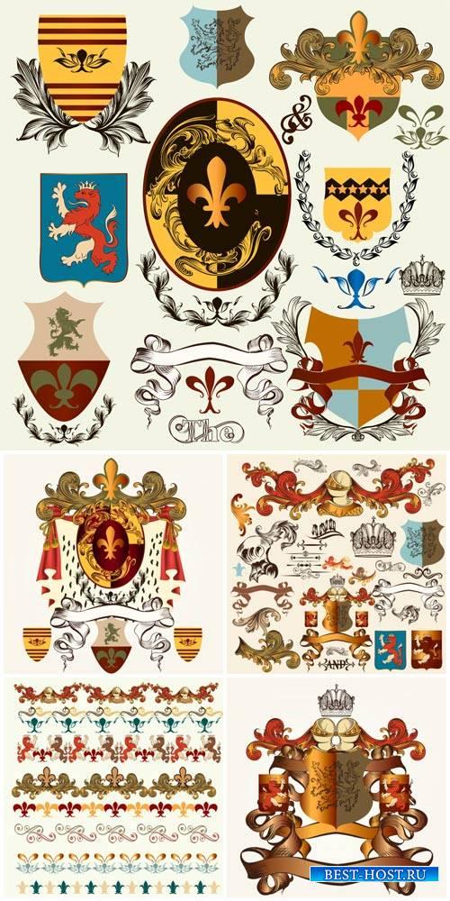 Decorative elements, ornaments, heraldry vector