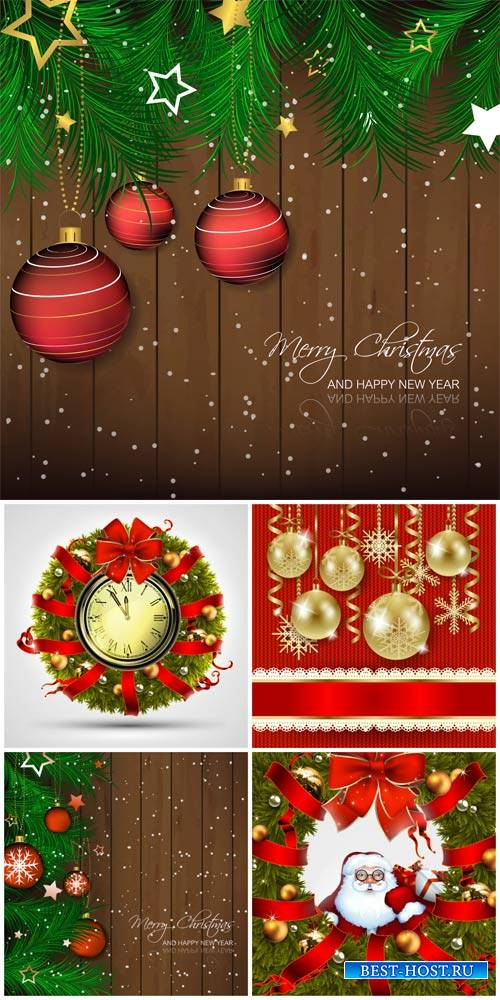 Christmas vector background with Christmas balls and Santa