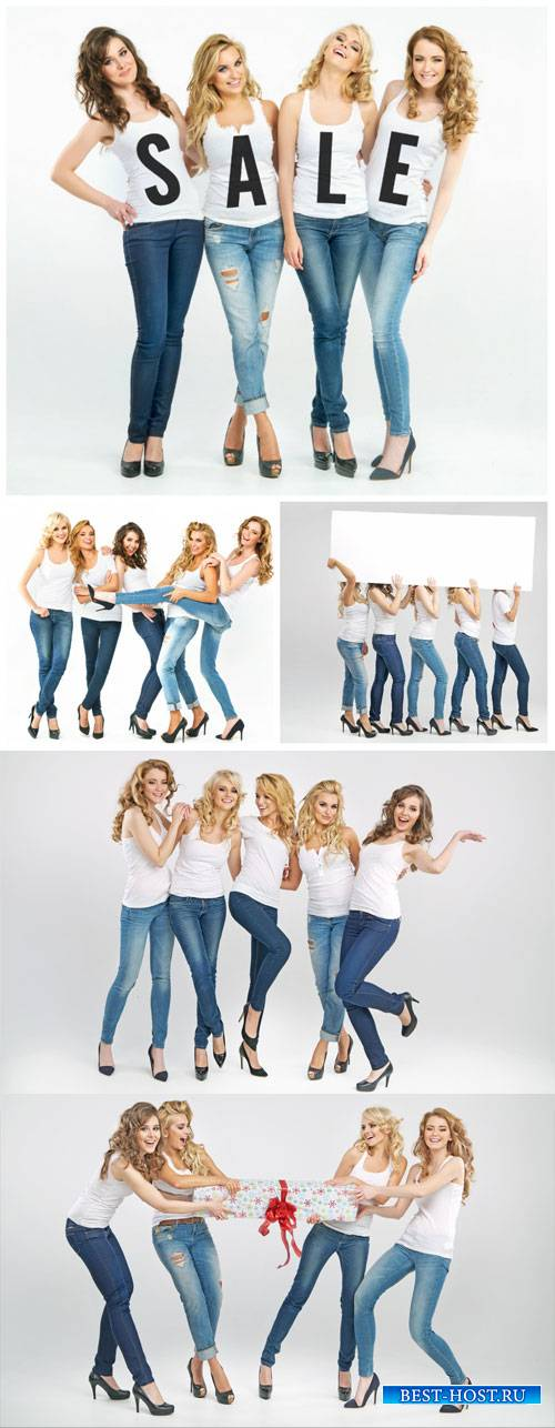 Beautiful girl in jeans - stock photos