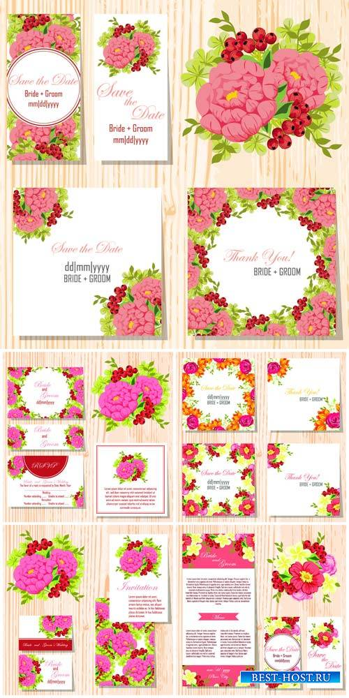 Wedding invitation with flowers, vector card