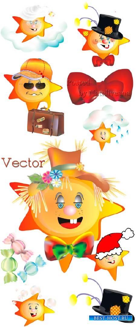 Подборка детского векторного клипарта – Забавное солнышко в шляпе