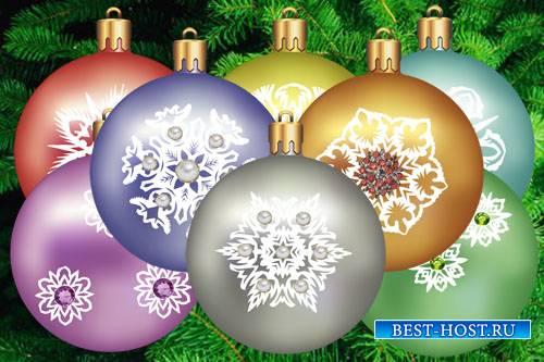 Клипарт Новогодние шарики со стразами
