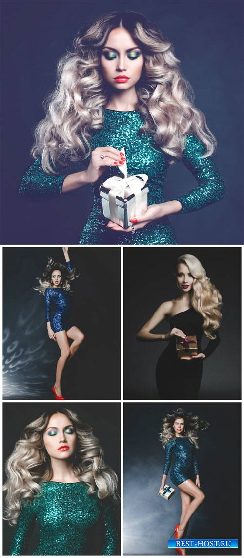 Glamorous woman with gifts - stock photos