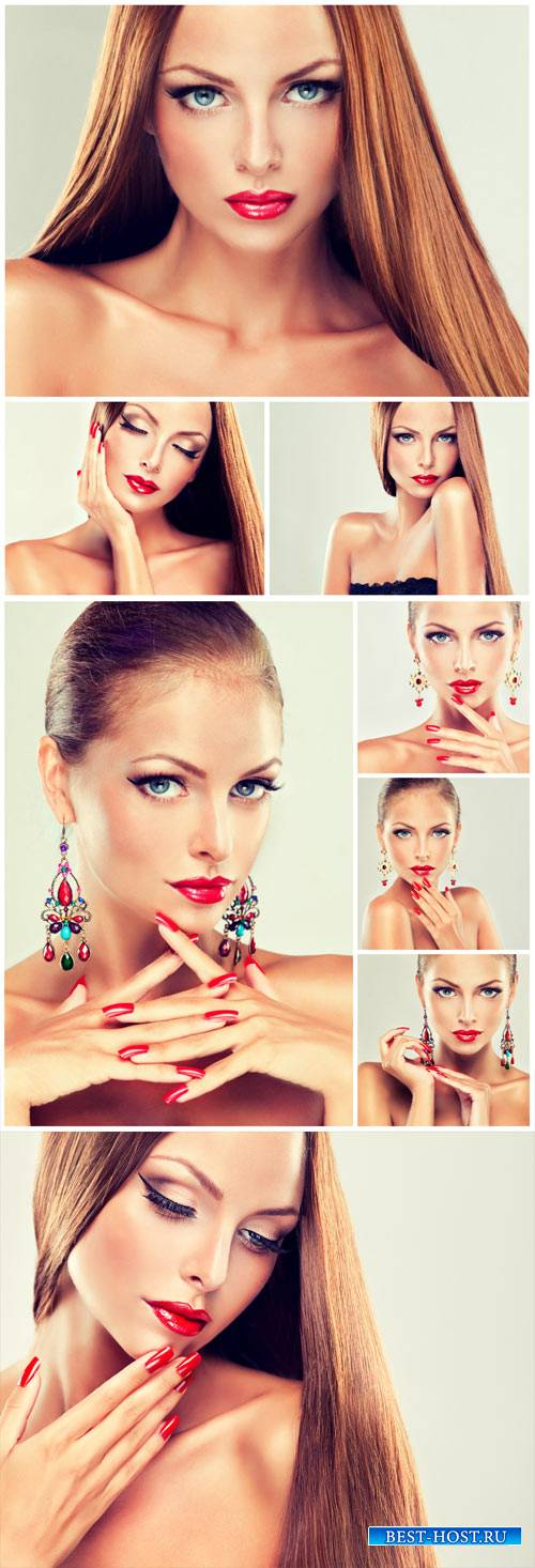 Beautiful girl in earrings, stylish makeup - stock photos