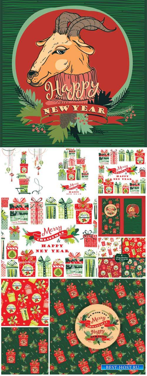 Christmas, new year, holiday vintage backgrounds vector