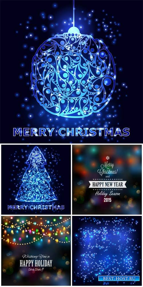 Christmas vector background with glowing ball and fir tree