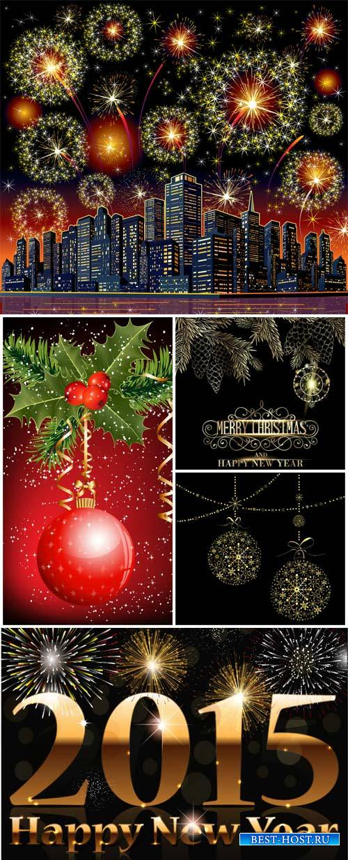 Christmas background with salute and shiny balls vector