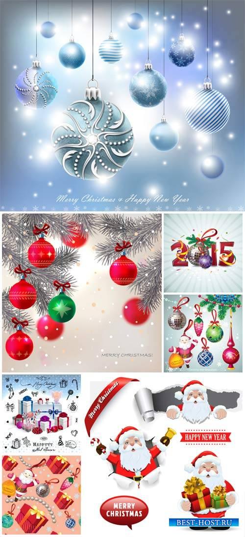 Christmas, Christmas balls, santa claus vector