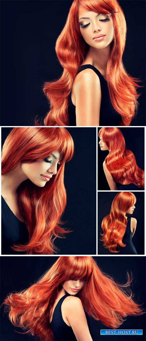 Girl with bright fiery hair - stock photos