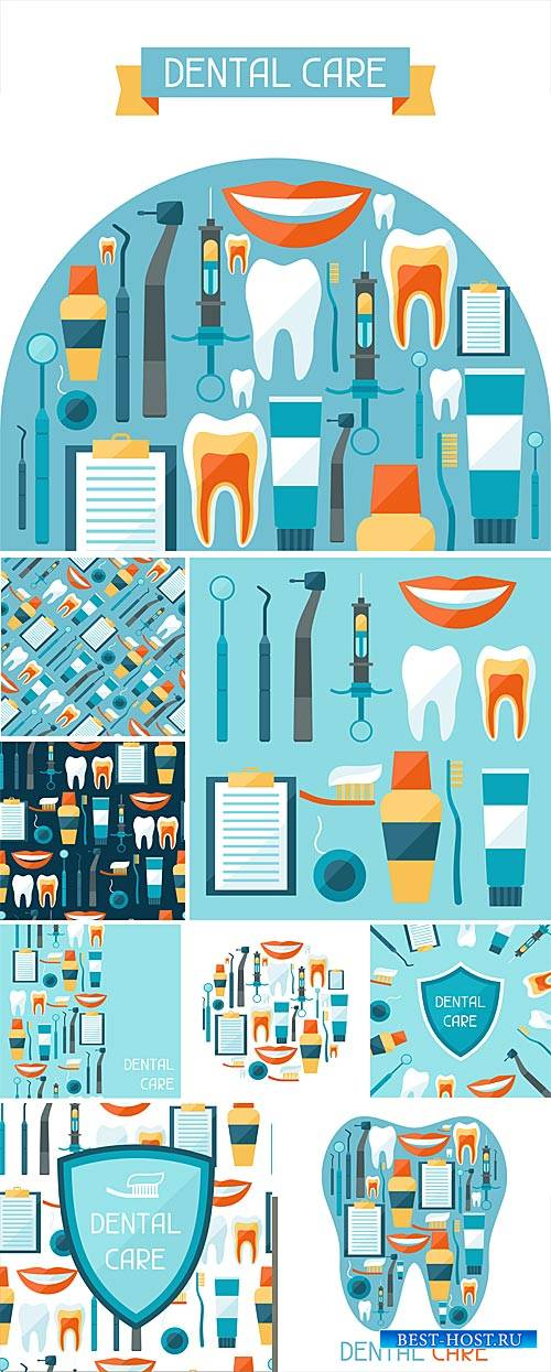 Stomatology, vector background with elements of dentistry