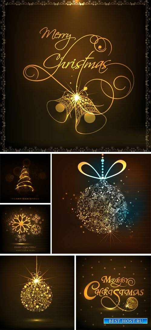 Christmas vector background with shining Christmas trees and balls