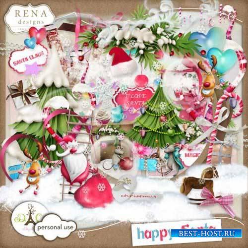 Детский праздничный скрап-комплект - Счастливый Санта