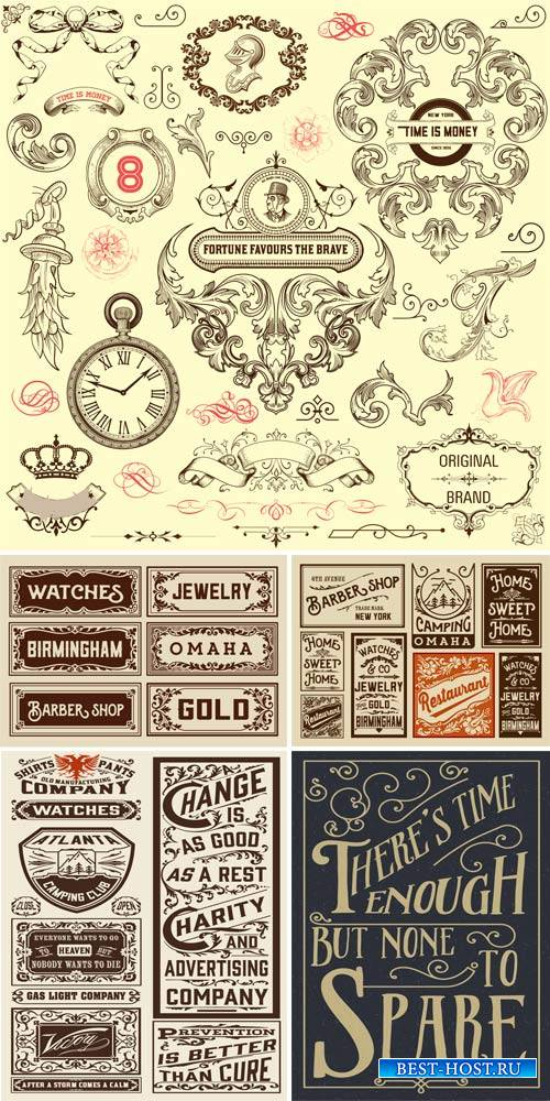 Vintage decorative elements, original designs, labels