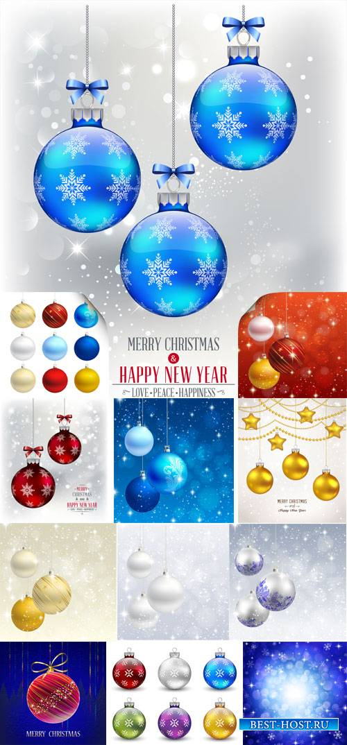 Christmas and New Year, vector background, Christmas balls
