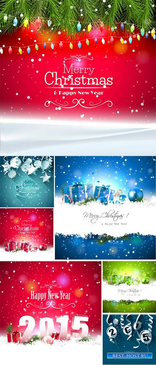 Christmas and New Year, vector backgrounds with Christmas baubles and gifts