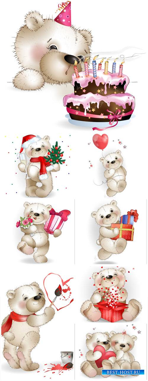 Funny teddy bear vector, birthday, new year