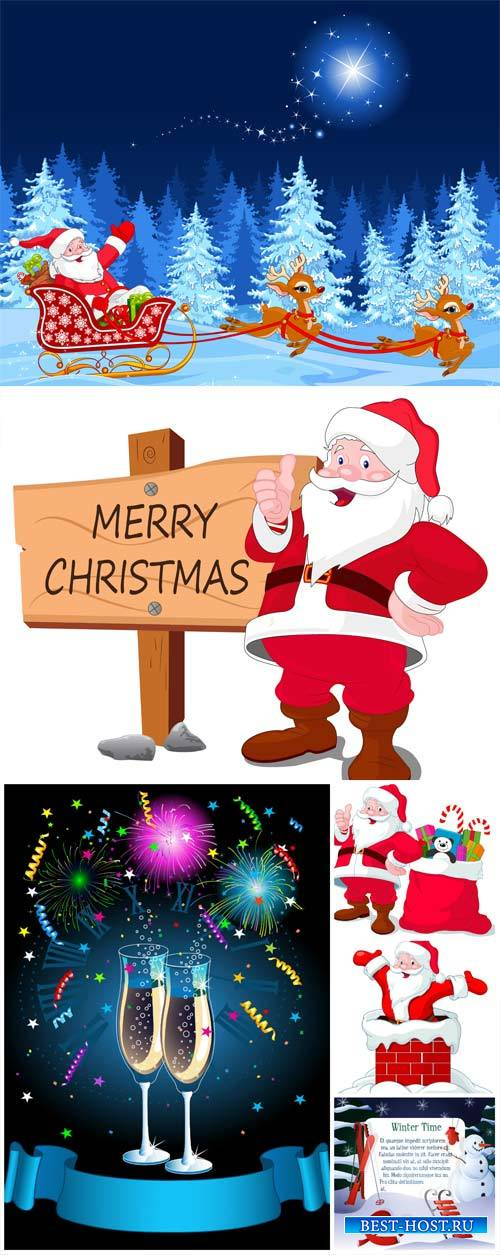 Christmas and New Year, vector winter background with santa