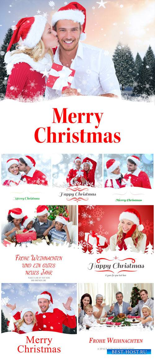 Christmas and New Year, happy people - Stock Photo