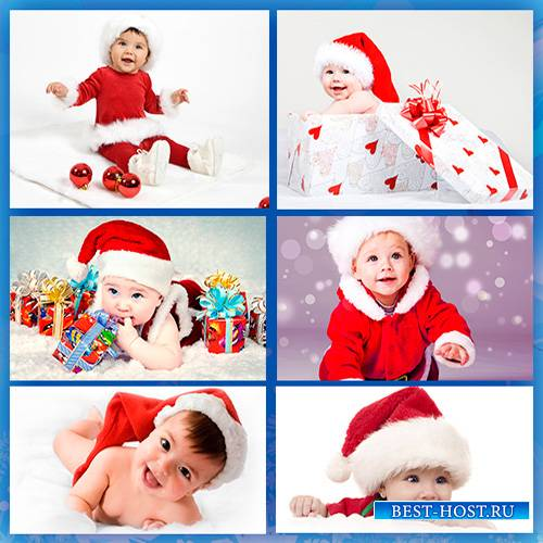 Фотоподборка - Дети и Новый Год, младенцы в новогодних шапочках