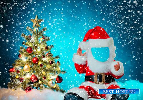 Шаблон для фотошопа  - Маленький Санта Клаус