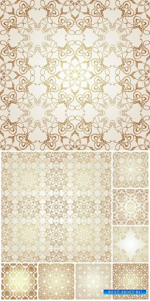 Gold vintage patterns, backgrounds, textures vector