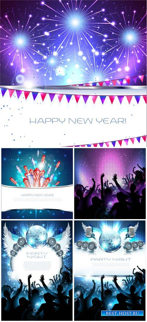 New Year, fireworks and parties in the vector
