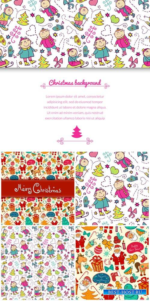Christmas backgrounds vector, Santa and children