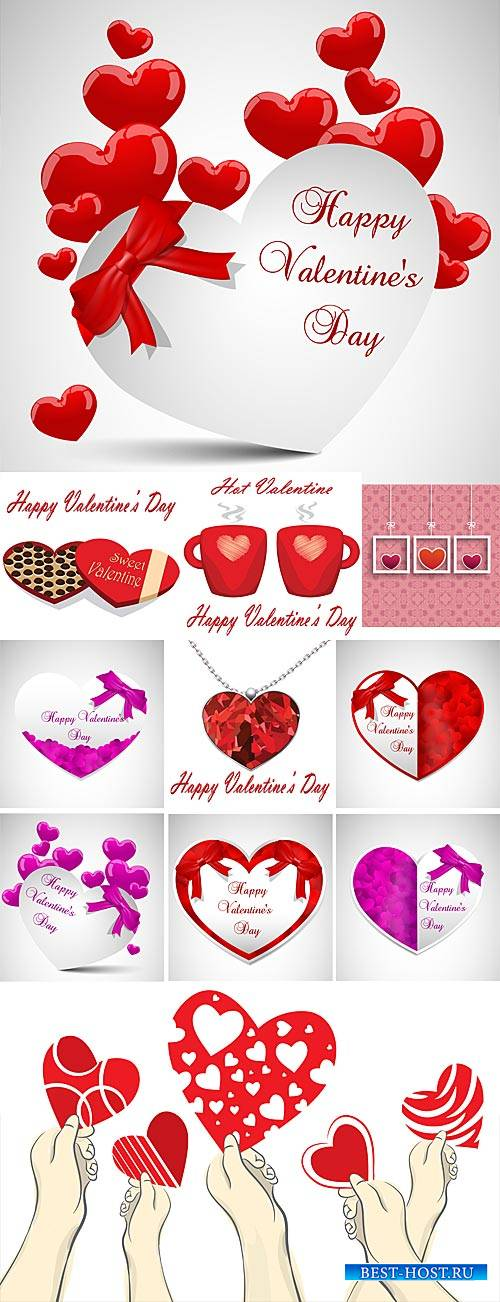 Valentine's Day, card with hearts