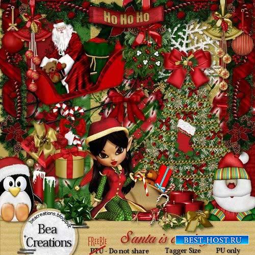 Новогодний скрап-комплект - Санта идёт