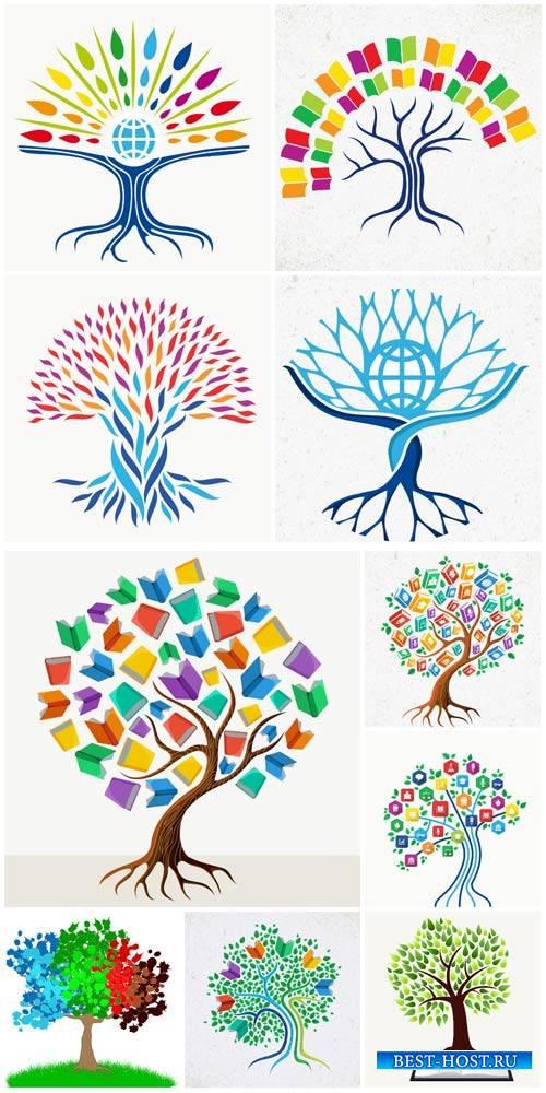 Trees vector, books, creative