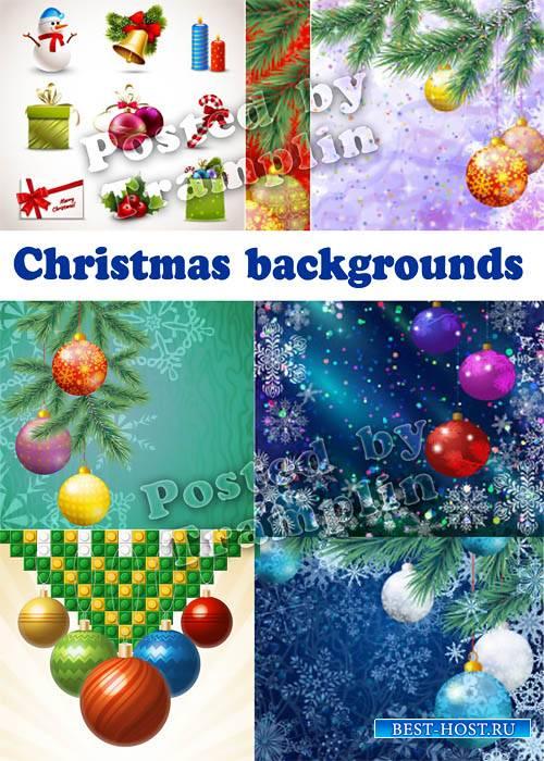 Новогодние фоны векторе – Хвоя, шары, подарки, снеговик