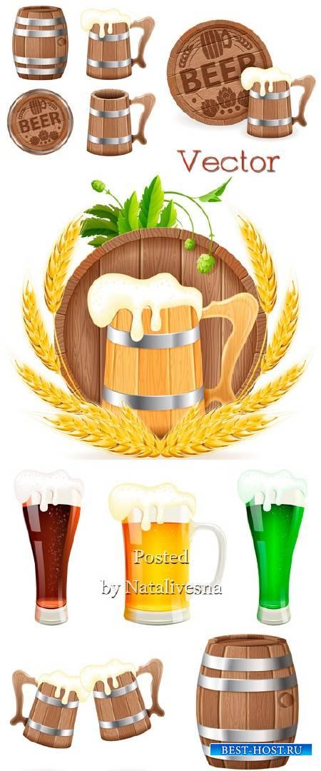 Бочонок и кружки с пенным  пшеничным пивом в Векторе