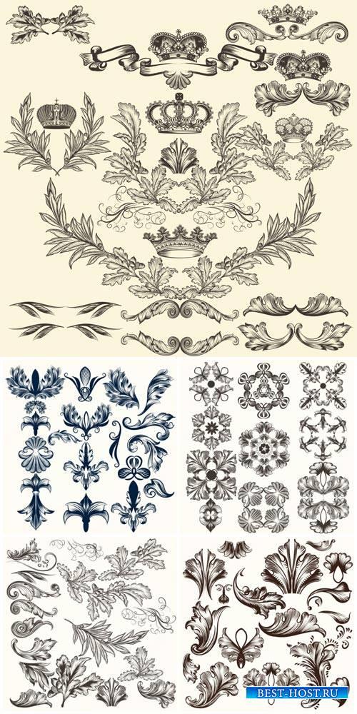 Vintage decorative elements, ornaments and swirls vector
