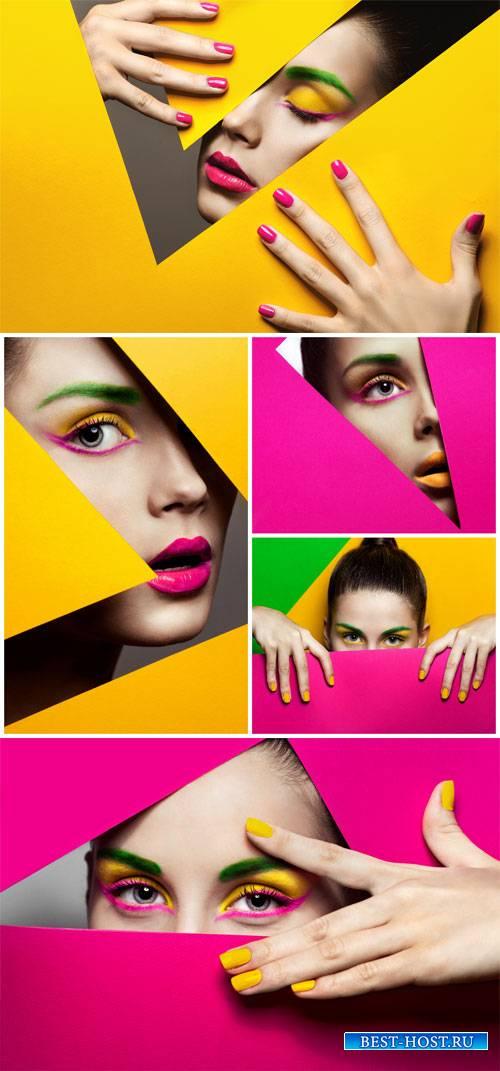 Fashion makeup - female creative stock photos