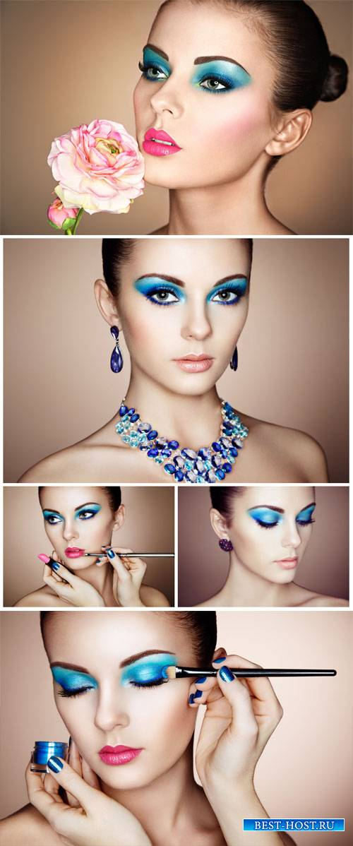 Girl with beautiful make up, style, fashion - stock photos