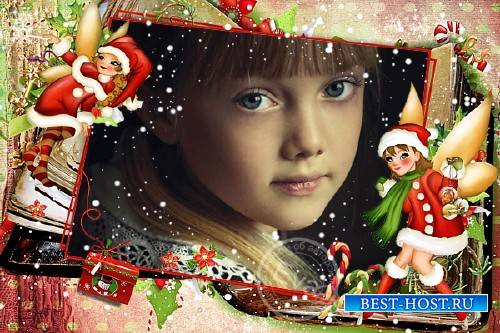Детская фоторамочка - Зимняя сказка для девочек