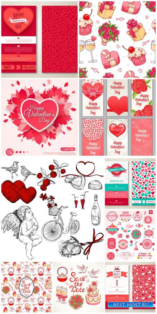 Valentine's Day vector, angels, hearts, romantic elements
